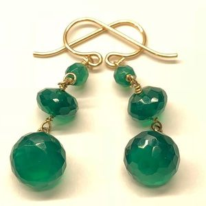 Gold filled earrings with green onyx